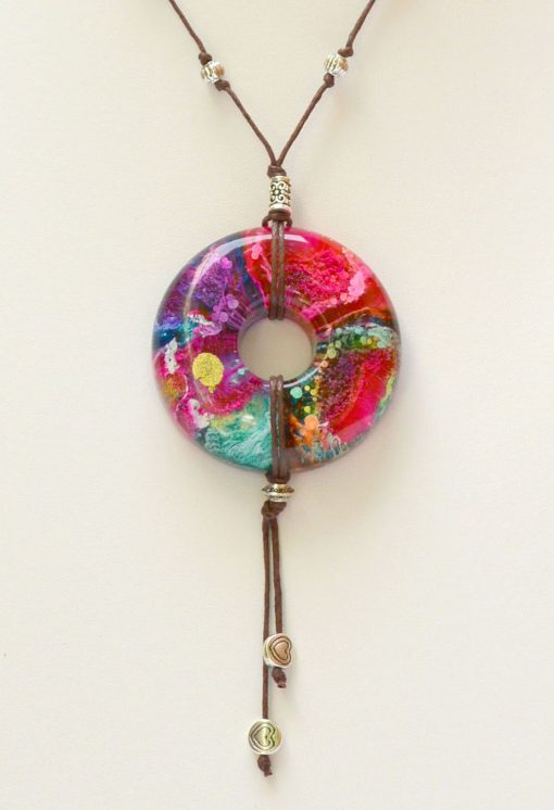 Pink, Lilac & Turquoise Resin Pendant Handmade Necklace