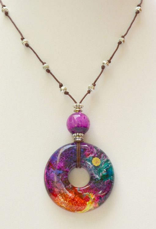 Orange, Purple & Blue Resin Pendant Necklace