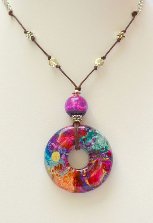 Pink, Orange & Blue Resin Pendant Necklace