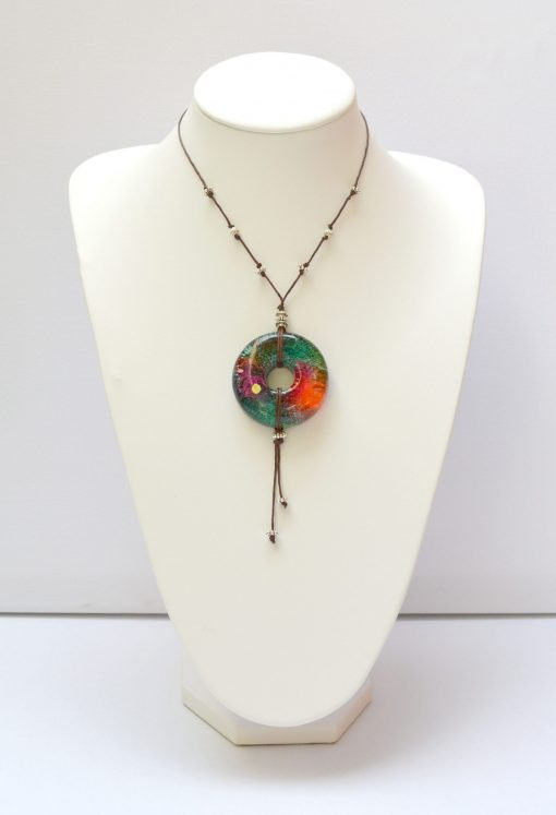 Green, Orange & Pink Resin Pendant Necklace