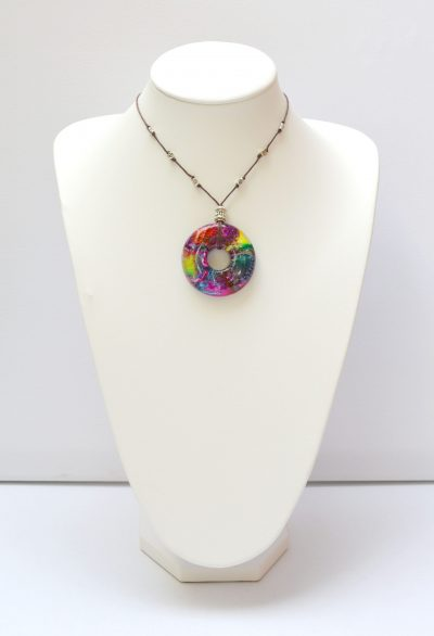 Pink, Yellow & Blue Resin Pendant Necklace