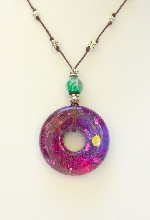 Pink, Purple & Green Resin Pendant Necklace
