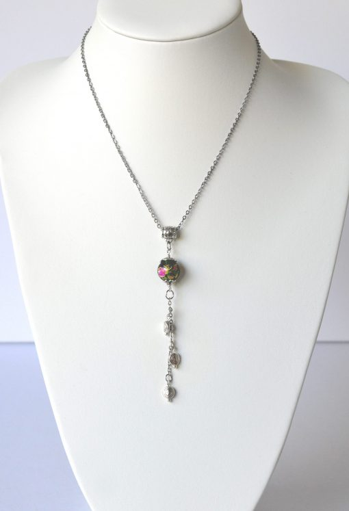 Oriental Green Bead & Heart Charm Necklace