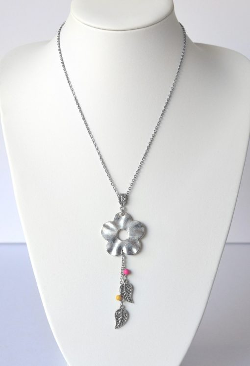 Flower Power, Leaf Charm & Bead Necklace