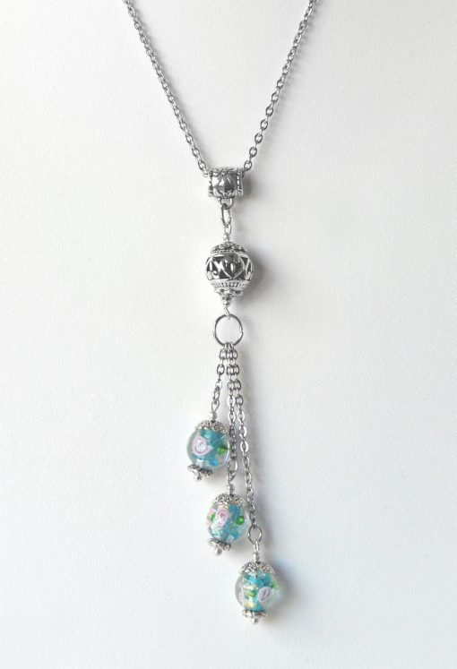 Blue Floral Bead Trinity Drop Handmade Necklace