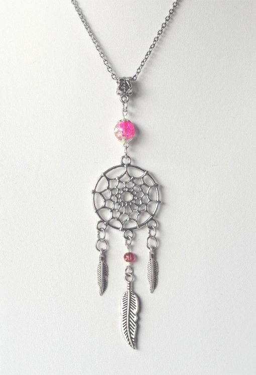 Feather Charm Dreamcatcher & Pink Bead Necklace