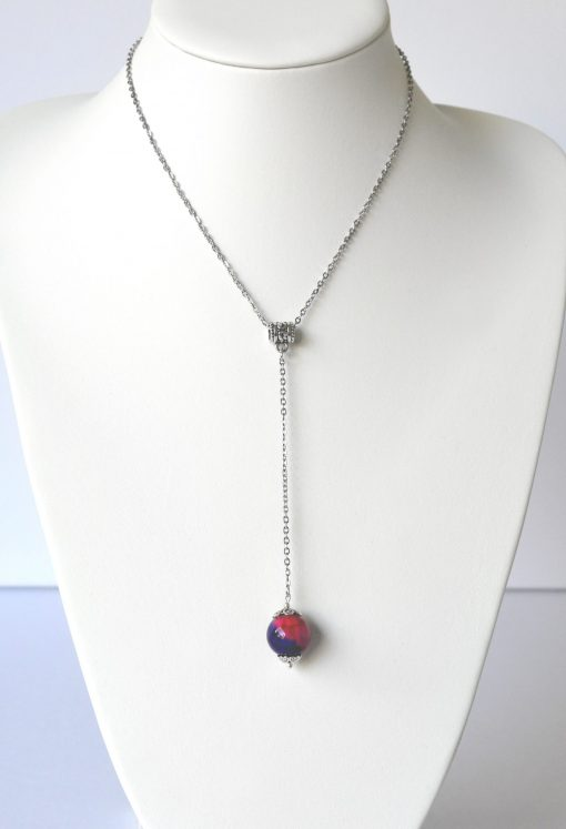 Pink & Blue Agate Bead Long Drop Necklace