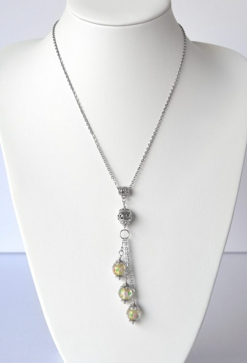 Yellow Green Floral Bead Trinity Drop Necklace