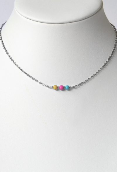 Yellow, Pink & Blue Bead Short Handmade Necklace